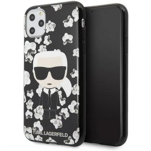Apple iPhone 11 Karl Lagerfeld Flower tok (KLHCN61FLFBBK), Fekete