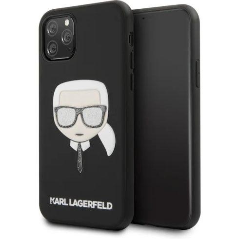 Apple iPhone 11 Karl Lagerfeld dombornyomott Glitter tok (KLHCN61GLBK), Fekete